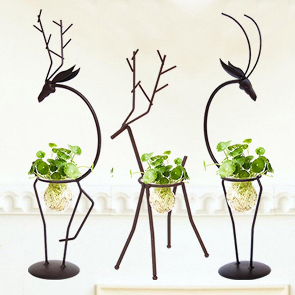 Creative Hydrocultuur Plant Met Ijzer Herten Ontwerp Stand Houder Transparant Glazen Vaas Voor Thuis Woonkamer Tafel Decoratie