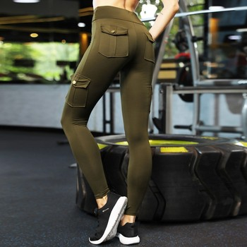 Army Green Push Up Fitness Leggings Women High Waist Workout Legging with Pockets Patchwork Leggins Pants Women Fitness Clothing 1