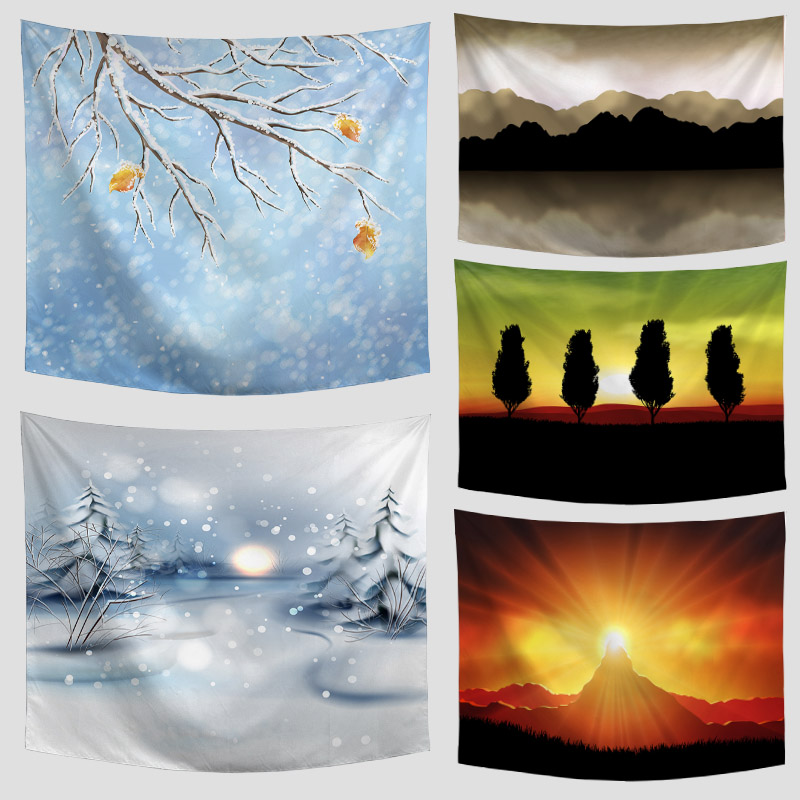 Amazing Graceful Painted Snow Falling Beautiful Sight Printed Wall Hanging Tree Natural Scenery Tapestry Living Room Decoration