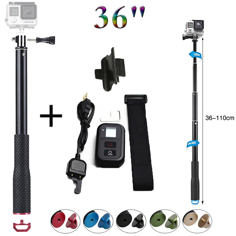d75eba694b20d0 new Gopro hero 5 4 3 monopod gopro Selfie Stick + wifi remote controller  for Go pro HERO 5 4 3+ 3 4 session camera accessories