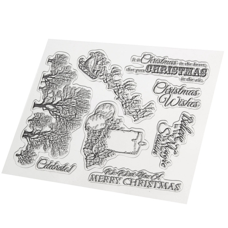 KiWarm Merry Christmas Candle Tree Transparent Clear Rubber Stamp ...