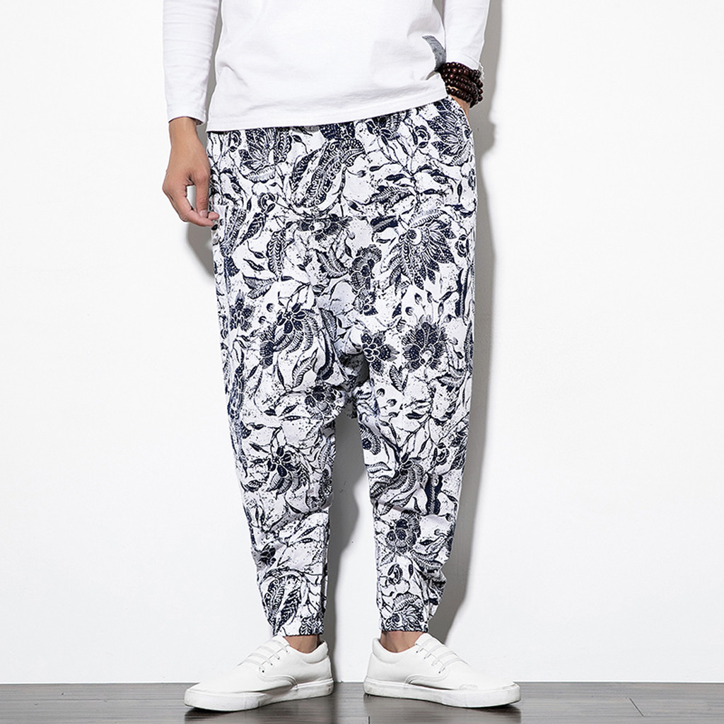Men's Pants Patchwork Printing Streetwear Casual Joggers Cotton Linen Long Loose Trousers