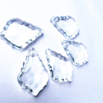 380pcs/Lot AAA 38mm Clear French Cut Pendant maple leaf Crystal Prism Feng Shui Crystal Chandelier Parts Free Shipping+Free ring