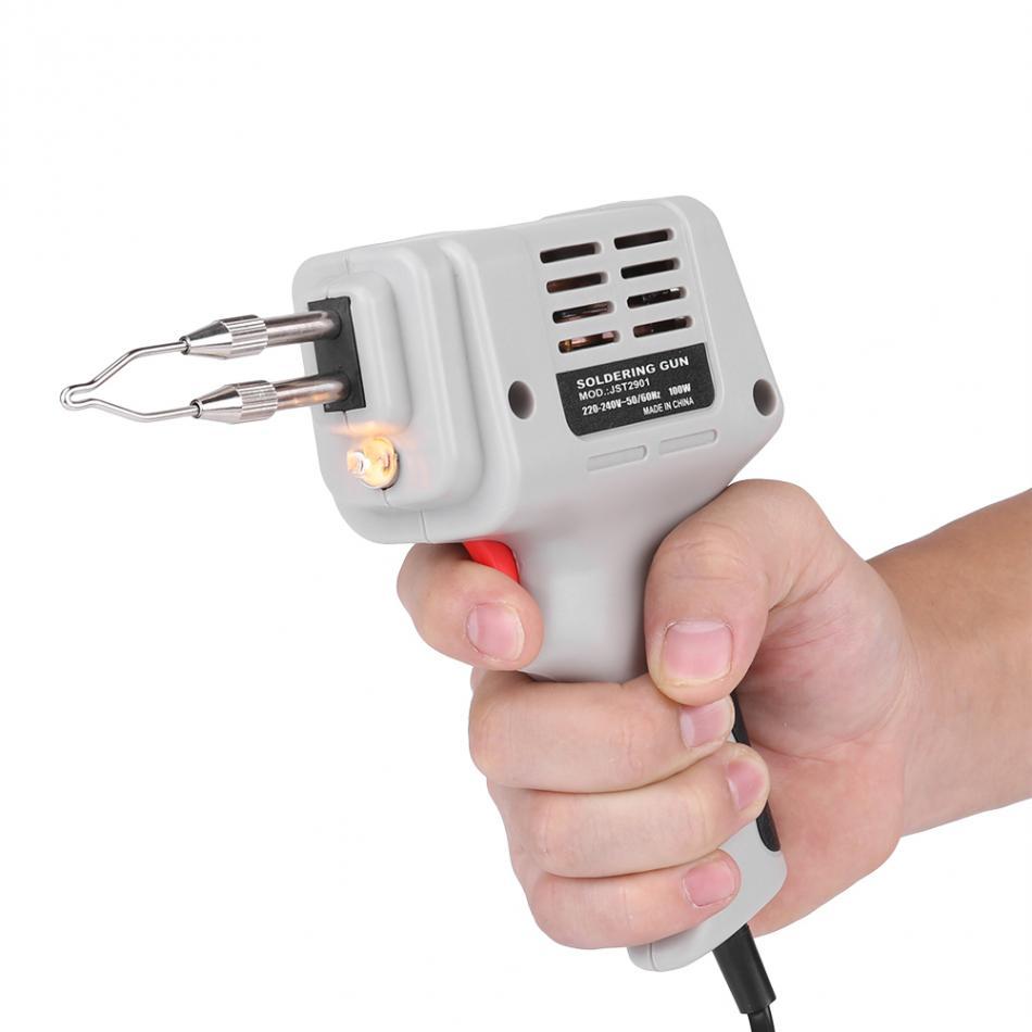 Electrical Soldering Iron Guns Hot Air Heat Guns Hand Welding Tool With Solder Wire Welding Repair Tools Kit EU 220V 100W