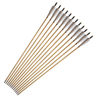 12pcs Real Indonesian Ramin Shaft And 5 Inches Turkey Feathers Traditional Bows And Arrows