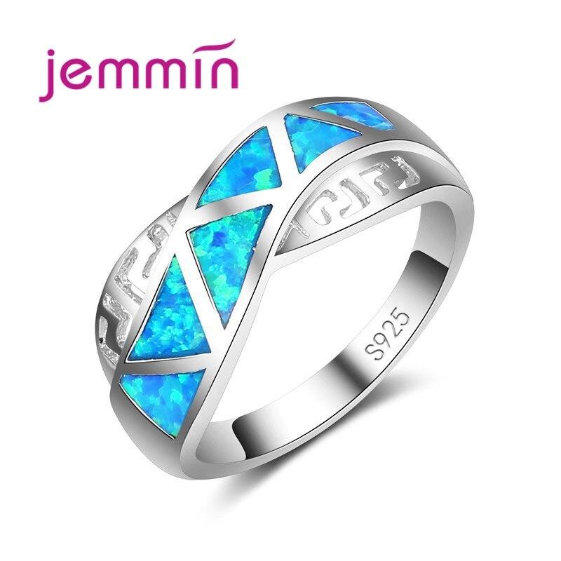 Jemmin Mode Croix Ruban Bleu Opale de Feu Anneau Ruban De Mariage Anneaux Pour Hommes Et Femmes Bijoux Cadeaux