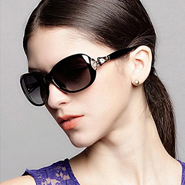 829678ed42 Caso Vazrobe Envío gafas de Sol Polarizantes Femenina Rhinestone Gafas de Sol  para Las Mujeres Blancas