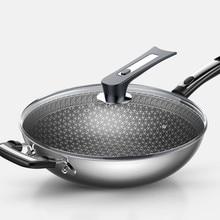 Вок антипригарная сковорода 304 нержавеющая сталь без дыма многофункциональная Бытовая кухонная кастрюля для индукционной плиты газовая для ВОК