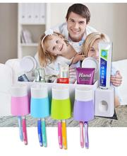 Functional Family Style Bathroom Wall Mounted Tooth Brush Holder Drying Rack With Automatic Toothpaste Dispenser +Brush Cup