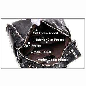 Image 5 - SUDS Brand Women PU Leather Backpack New Fashion Student Rivet School Bags Shoulder Bag Female Traveling Backpack Mochilas Mujer