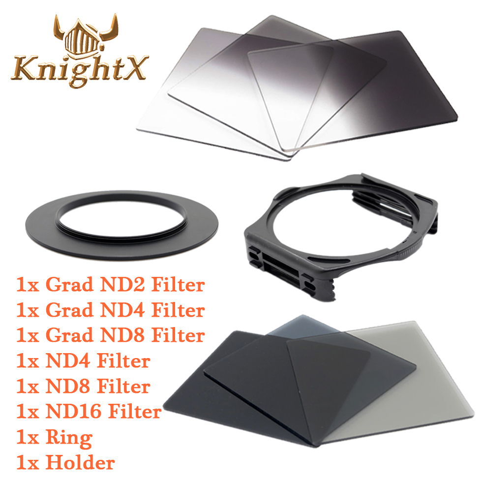 KnightX ND Grad Filter Kit For Cokin P Square Filter Holder for Canon Nikon D7100 D5200 D3300 52mm 58mm 67mm 72 77 82 color DSLR светофильтр fujimi grad grey 67mm