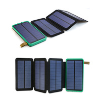 Support Solar Powered Solar Power Bank 10000mAh Portable Solar Charger For IPhone IPad Samsung HTC LG