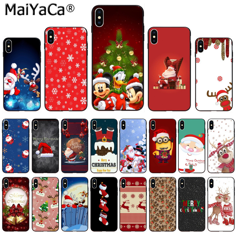 MaiYaCa Soft TPU Cover Santa Claus Christmas happy New year Mickey's Christmas for Apple iPhone 8 7 6 6S Plus X XS MAX 55S SE XR