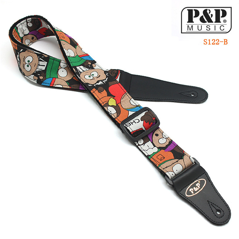 P&P S122 Cartoon animation New Brand Acoustic Electric Guitar Strap High Quality PU Leather Bass Belt Classical Guitar Accessor