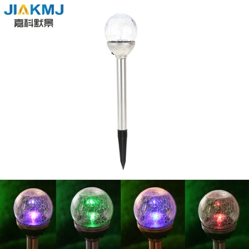 2pcs RGB Color Gradual Changing Solar Crackle Glass Ball LED Lawn Lamp Light Lampada Led Solar Light with Stainless Steel Stake
