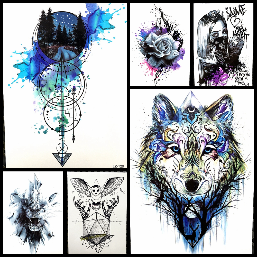 Womens Temporary Tattoos: Black Diamond Geometry Owl Temporary Tattoo Sticker WOmen