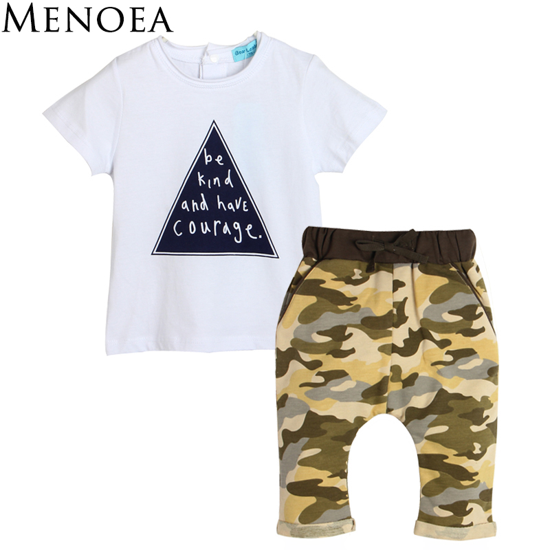 2017 Summer Brand New  Baby Boys Clothing Set Kids clothing White Short Sleeve Letters T-shirt+Camouflage trousers 2pcs Clothes