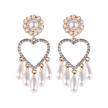 New Arrival Heart Simulated Pearl Dangle Earrings for Women Luxury Statement Bohemian Water Drop Crystal Earring Wedding Jewelry