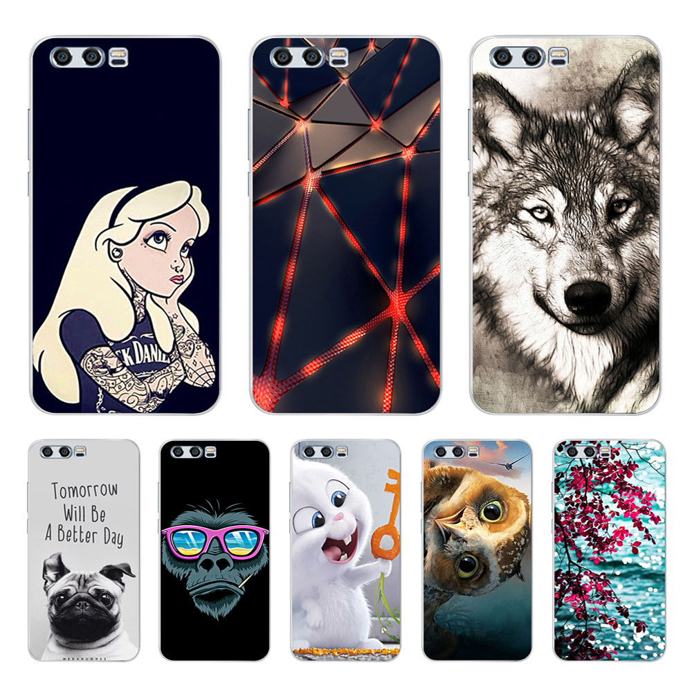 For Huawei Honor 9 Case Soft Silicone TPU Back Cover For Huawei Honor 9 Phone Cases 3D Cute Cat Shell For Honor 9 Lite Case Bags-in Fitted Cases from Cellphones & Telecommunications