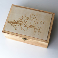 Birds on branch Wedding Guest Book, Custom vintage Wedding Box, Personalized Wooden Keepsake Box, Anniversary Birthday gift,