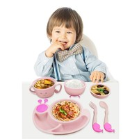 6pcs Children's Tableware Set Wheat Straw Food Feeding Dinnerware Cute Baby Dishes Kids Plate Training Spoon Fork Prato Infantil
