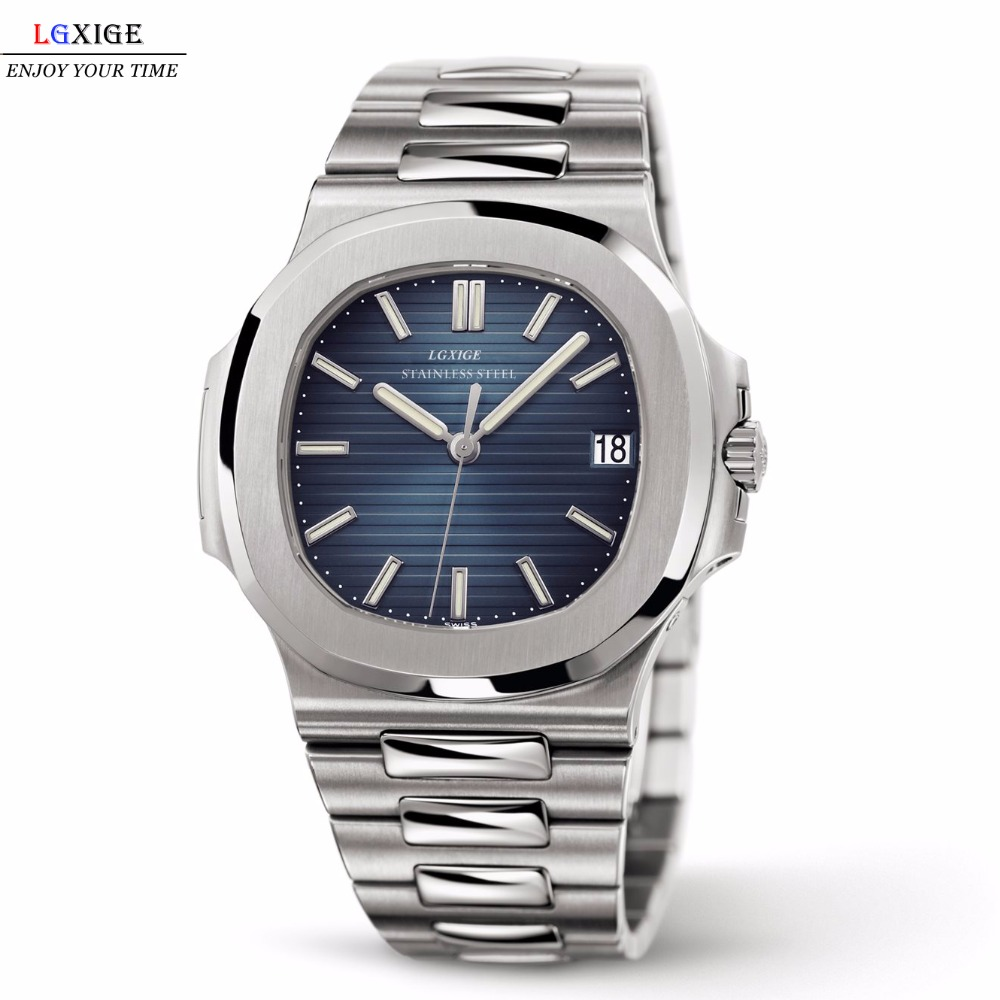 LGXIGE Watch Mens Top Brand Luxury Full Steel Military Wrist Watch Men Patek 30m Waterproof Business