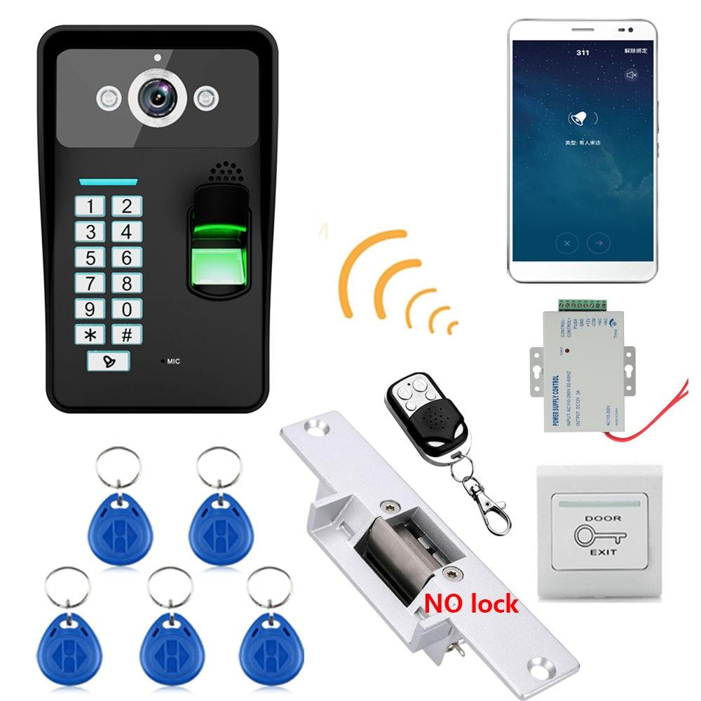 720P Wireless WIFI RFID  Fingerprint Recognition Video Door Phone Doorbell Intercom System  +Electric Strike Lock