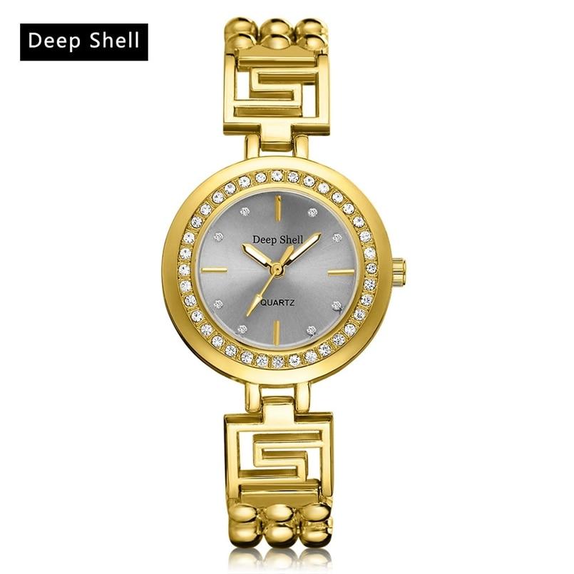 Deepshell Brand Gold Women Bracelet Watches Ladies Crystal Quartz Watch Women Wristwatches Relogio Masculino Dropship #N07