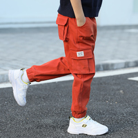 Spring Children Clothing Big Pockets Boys Casual Elastic Pants Teenager Waist Pants Boy Overalls Children Long Trouser for 3 14Y