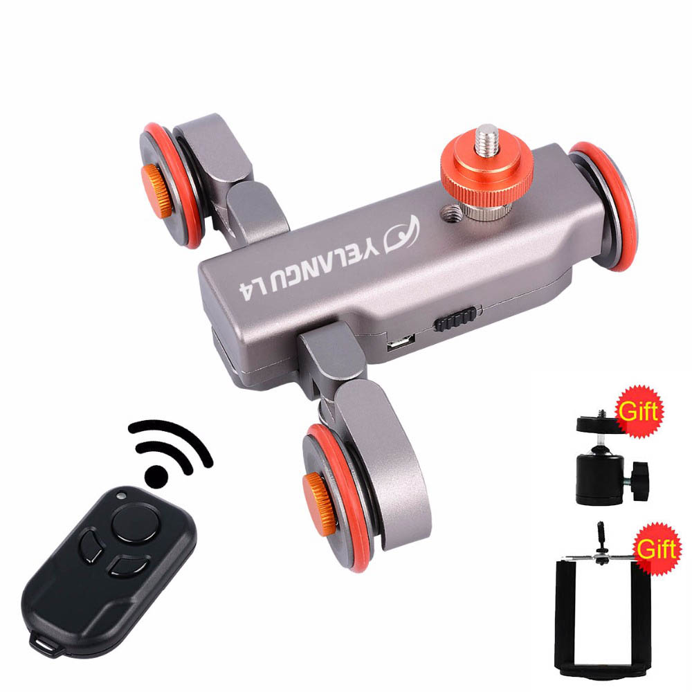 Yelangu L4 Motorized Dolly Wireless Remote Control Wheel Pulley Car Rail Track Dolly Slider for iPhone DSLR Camera Smart Phone flexible electric dolly 3 wheel pulley car rail rolling track slider skater dolly for dslr camera camcorder smart phone max 6kg