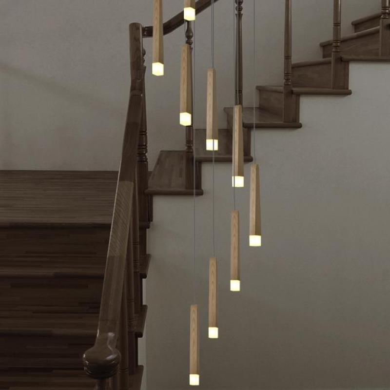 Italy Style Large Wooden Staircase Light Led Luminaria Villa