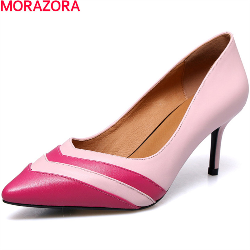 MORAZORA new genuine leather shoes fashion woman high heels wedding shoes nude color summer pointed toe sweet ladies shoes new 2017 spring summer women shoes pointed toe high quality brand fashion womens flats ladies plus size 41 sweet flock t179