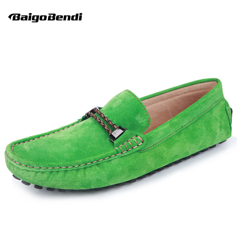 Spring Auuturm US 6-12 Big Size 45 46 Genuine Leather Mens Slip On Loafers Casual Driving Shoes Moccasin Bussiness Boat Shoes