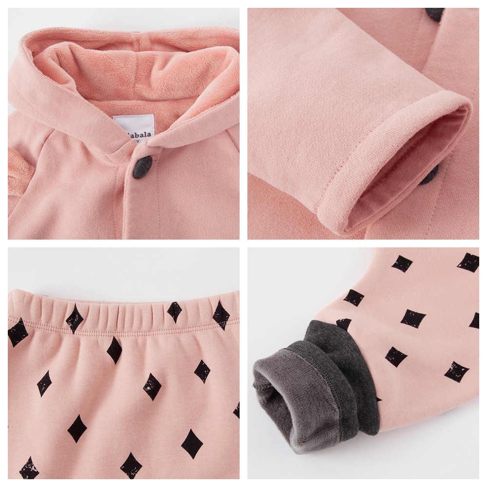 Conjunto de ropa de bebé balabala para niñas recién nacidos de invierno de tres piezas con capucha trajes de bebé mamelucos + Pantalones + chaqueta ropa infantil