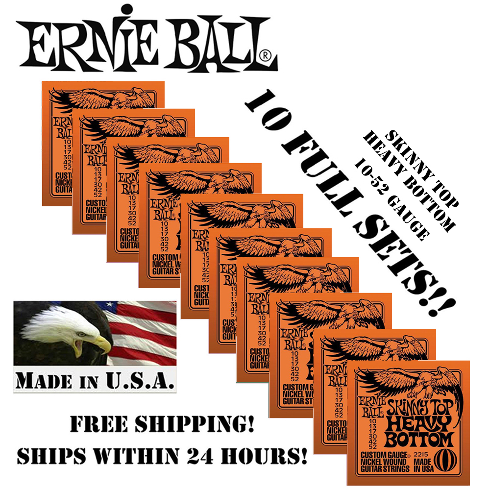 10 Packs Original Ernie Ball 2215 Skinny Top Heavy Bottom Electric Guitar Strings Nickel Wound Set