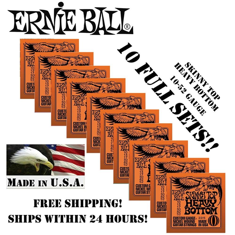 10 balíčků! Originální Ernie Ball 2215 Skinny Top - Heavy Duty Elektrické kytarové struny Nikl Wound Set, .010 - .052 (10 Packs)