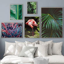 Fresh Plant Palm Leaf Flamingo Wall Art Canvas Painting Green Nordic Posters And Prints Pictures For Living Room Decor