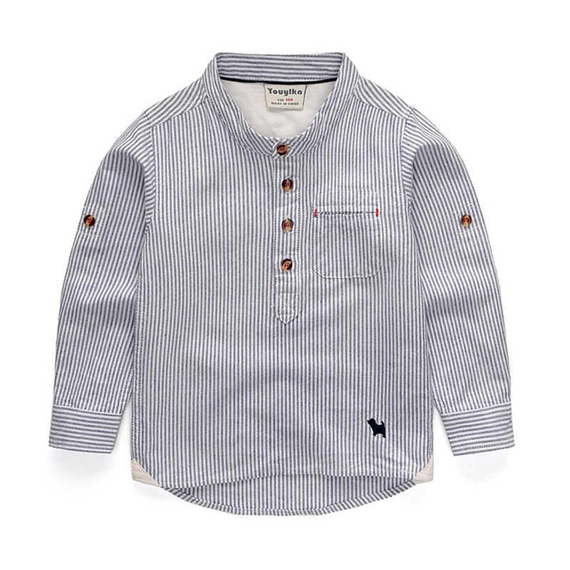 男の子のシャツ英国子供ストライプ綿の正方形の襟長袖カジュアルサマースクールブラウス子供イングランド服結婚式のためのパーティー