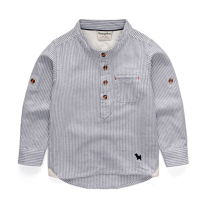Boys Shirts for British Children Striped Cotton Square Collar Long Sleeve School Blouses Kids England Clothes For Wedding Party