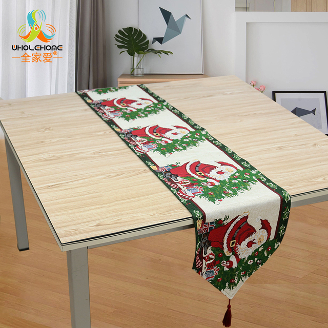 33x180cm Christmas Table Runner Polyester Cotton Xmas Decorative Cloth Home Party Rustic Decor