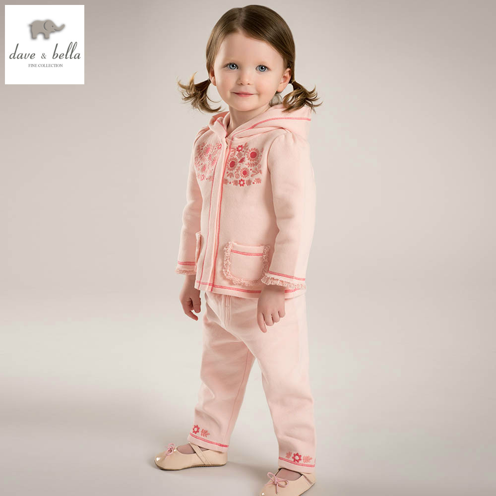 все цены на  DB4495 dave bella spring baby girls sports clothing sets kids orange floral clothing sets with ruffle  girl boutique sets  онлайн