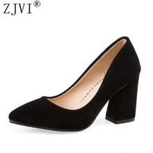 ZJVI women pointed toe thick High heels pumps woman nubuck suede shoes 2019 summer autumn Female elegant womens work Pumps