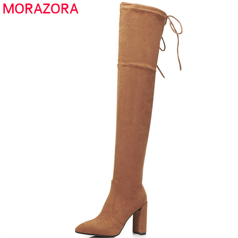 MORAZORA B-JM00539 same paragraph over the knee boots for women high heels shoes 9.5cm stretch kid suede leather boots woman купить недорого в Москве