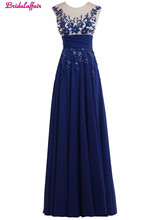 KapokBanyan Real Photo Deep Blue Appliques O Neck Prom Drsses 2017 Short Sleeve Backless Long Evening Party Dress Robe de soiree