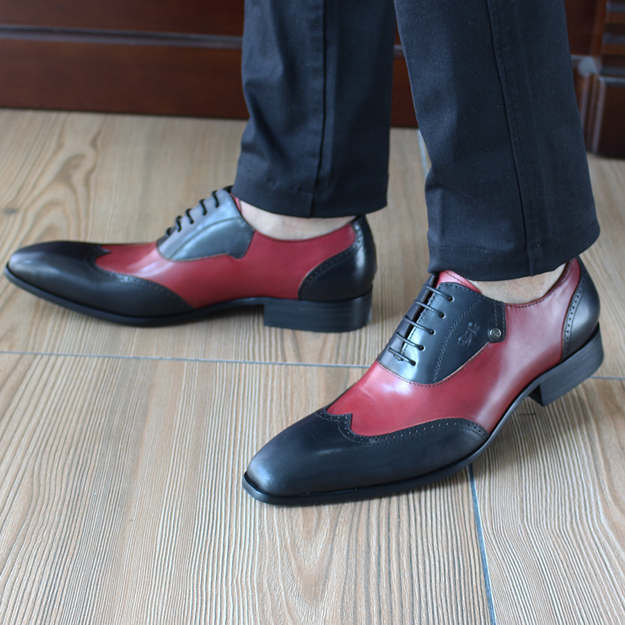 FELIX CHU Black And Red Casual Genuine Leather Men Dress Shoes Classic British Oxfords Flat Heel Wedding Party Suit Shoe 185-810