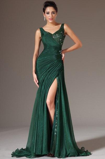 Emerald Green V-neck Slit Side Sexy Chiffon Beaded Formal Floor Length Abendkleider 2018 Vestido De Festa   bridesmaid     dresses