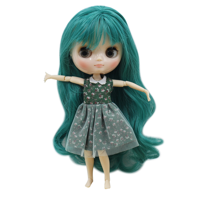 Middie Blyth doll 1/8 nude joint body shine face wihte skin green hair with bangs Free Shipping Toy Gift No.1206