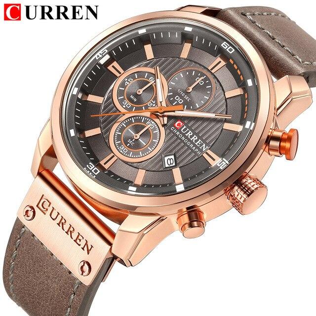 Luxo CURREN Homens Relógios Desportivos Militares Casuais Masculino Data Relógio de Pulso Relógio de Quartzo Cronógrafo Horloges Mannens Saat Relojes