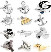Bezpłatna wysyłka spinki do mankietów Sport Anchor Design mosiądz materiał linki prezent dla marynarzy tanie tanio Tie Clips Cufflinks Moda Cuff Links sailor series Simulated-pearl Casual Sporty Mężczyzn Metal Miedzi igame
