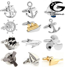 Free Shipping Fashion Cufflinks Sport Anchor Design Brass Material Cuff Links Gift For Seaman cheap Tie Clips Cufflinks sailor series Simulated-pearl Casual Sporty Metal Copper igame